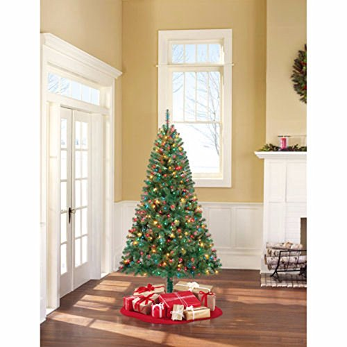 Christmas Tree and Stand 6.5 Ft Pre-Lit Madison Pine Clear or Color Lights NEW (GREEN- MULTI LIGHTS)