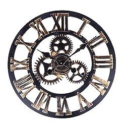 Toright 16Inch Vintage 3D Gear Design Large Round Wooden Wall Clock Home Office Shop Art Décor Copper Color