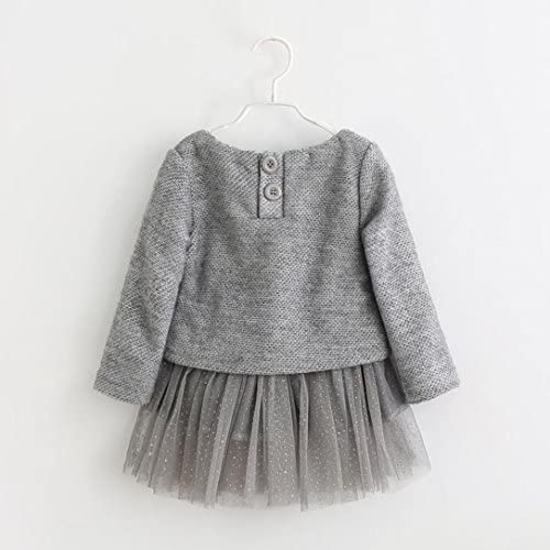manadlian B/éb/é Enfants Filles Manches Longues tricot/é Arc Tutu Princesse Robe 0-24 Mois