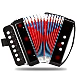Kids Accordion, Ten Keys Toy Accordion, Solo and Ensemble Instrument, Musical Instrument for Early Childhood Teaching (white)
