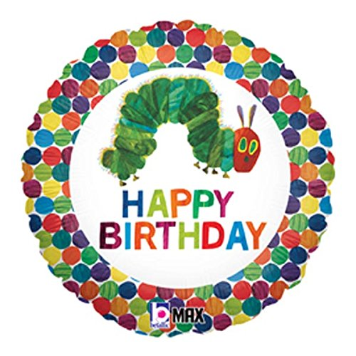 Happy Birthday Balloon The Very Hungry Caterpillar by Eric Carle 18 inch Round Foil for Helium Inflation Party Decoration in Green Blue Orange Red Yellow Polka Dots and Multi Color Bug Words on White for $<!--$2.22-->