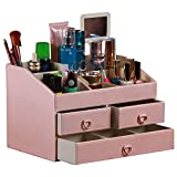 PU Leather MakeUp Holder with drawer,Cosmetic Dispaly case storage box Wood MDF Makeup Organizer with mirror Gifts for Lady Girl (Pink)