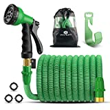 Panom Lightweight Expandable Garden Hosepipe,No Kink Flexible Hose - Expands from 17Ft to 50 Ft, Water Hose with 3/4 Solid Brass Fittings & 8 Function Spray Nozzle and Holder (Green)