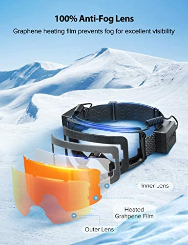 Ski Goggles with Heated Graphene Anti-Fog Lens Charged Snow Sport Goggles Far Infrared Over-Glasses Double Lenses Helmet for Men, Women & Youth, Compatible UV Full Protection for Eyes, Skiing