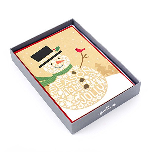 (Hallmark Holiday Boxed Cards, Jolly Snowman (16 Cards and 17)