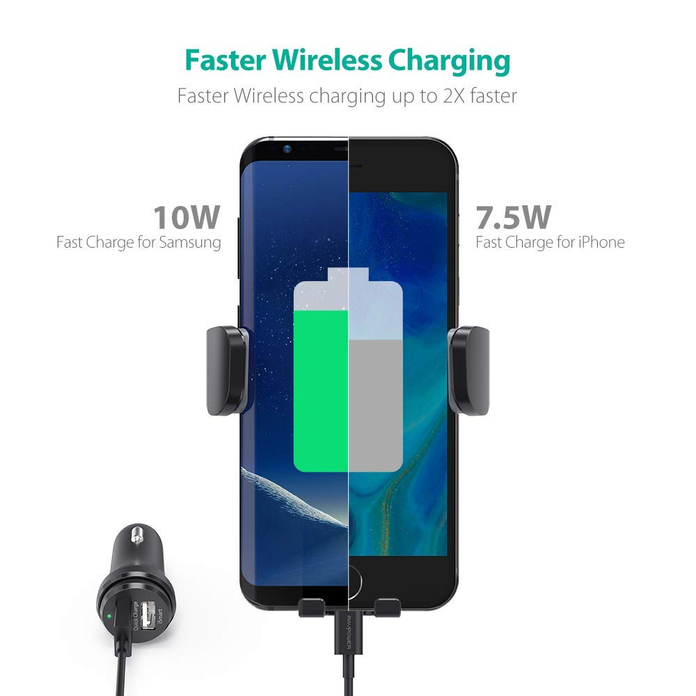 RAVPower Qi Wireless Car Fast Charger 7.5W Car Charger Included RP-SH013 10 W Phone Holder Car Vent Electric Lock Release Compatible iPhone Xs Max XR X 8 7 Plus Galaxy S9 S8 Plus Note 9 8