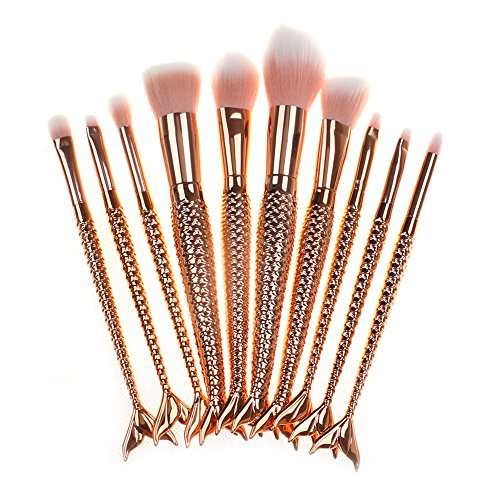 10pcs Mermaid Makeup Brush Set Soft Synthetic Cosmetics Tools for Woman Multicolor Gradient by LassieBeauty