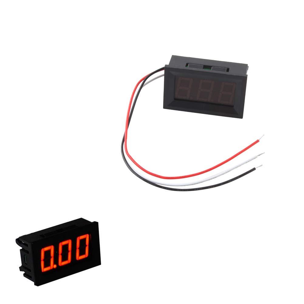 Volt/ímetro Digital Gauge Tres Cables De Tensi/ón Tester Meter Dc 0-100v Metro De Voltio Red Led Display Figuras Tester El/éctrico