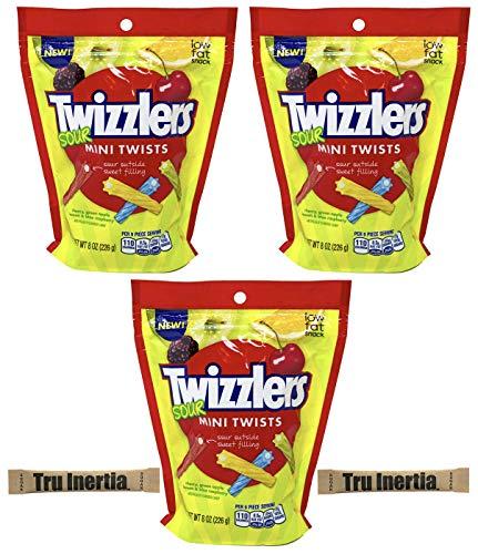 Twizzlers Sour Mini Twists - Cherry, Green Apple, Lemon, Blue Raspberry - 8oz (Pack of 3) with Tru Inertia Sugar Packets