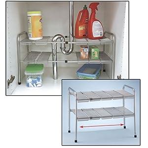 2 tier expandable adjustable under sink shelf storage shelves kitchen organizer. Black Bedroom Furniture Sets. Home Design Ideas