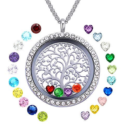 YOUFENG Floating Living Memory Locket Pendant Necklace Family Tree of Life Necklace All Birthstone Charms Include (Family Tree CZ Locket)