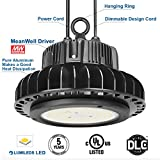 Adiding LED High Bay Lighting,150W UFO Hi Bay Light 130 Lm/W Lumileds SMD 3030 LED 19500 Lumens(600W HID/HPS equivalent)5000K Dimmable MeanWell Driver for Garage Warehouse Workshop DLC UL,Black