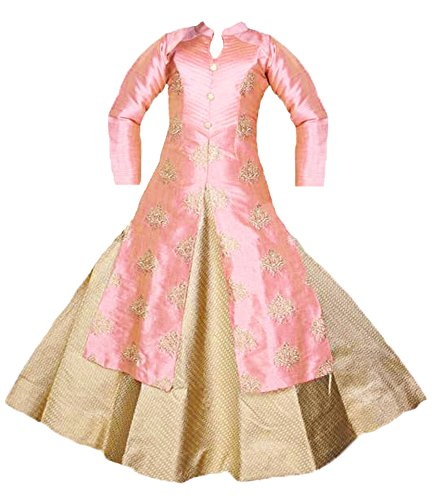 Deluxe Indian Girl - Zaffron Little Girls' Deluxe Designer Lehenga Indian Party 3 Piece Dress Set 1 to 7 Years Sizes (16 (1-2 Years), Pink)