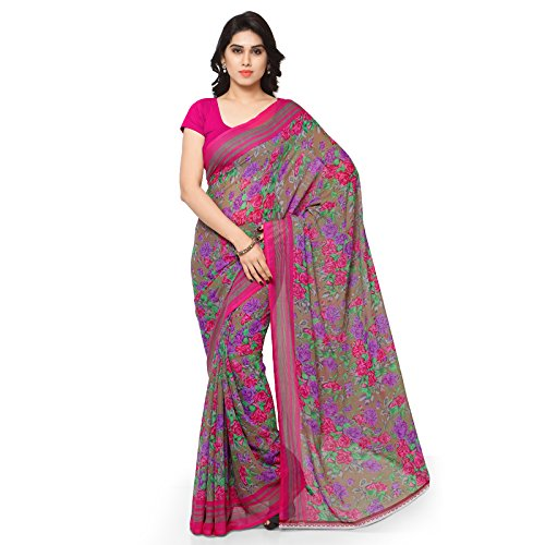 Anand Sarees Faux Georgette Pink & Multi Colored Printed Saree With Blouse Piece (1180_3)