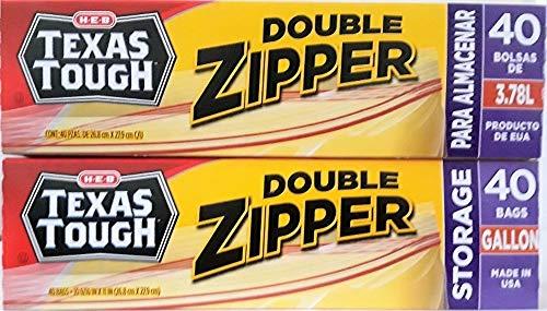 (Texas Tough Double Zipper Gallon Storage/Freezer Bags, 2 Pack, 40 Count)
