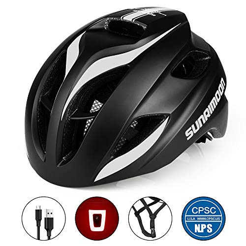 SUNRIMOON Bike Helmet with USB Light for Adult Men/Women Road & Mountain Cycling, in-Molded Reinforcing Skeleton for Enhanced Protection, Adjustable Bicycle Helmet, 20.47-23.62 Inches - Black White