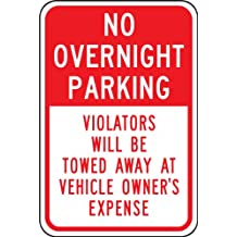 """Accuform Signs FRP178RA Engineer-Grade Reflective Aluminum Parking Sign, Legend """"NO OVERNIGHT PARKING - VIOLATORS WILL BE TOWED AWAY AT VEHICLE OWNER'S EXPENSE"""", 18"""" Length x 12"""" Width x 0.080"""" Thickness, Red on White"""