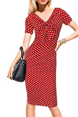 ご覧くださいシーズン蒸女子半袖 v ネック蝶結び作業鉛筆パーティー ドレス Red OX034-Red-S