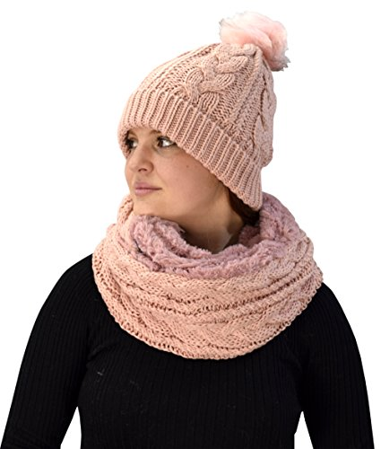 Peach Couture Thick Cable Knit Faux Fur Plush Double Layer Hat Infinity Scarf Set (Pink 97) (Double Layer Beanie)