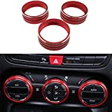 3PCS Interior Decoration Aluminum Alloy Audio Air Condition Switch Button Cover Ring For Jeep Wrangler 2011-2016 (Red)