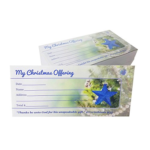 My Christmas Offering - Church Tithe/Donation Envelopes, Beautiful Christmas Tree Design, Easy-Open Tab, Fits Bills & Checks, Choose Your Quantity (125, 250, or 500) (Box of 500) by Generic