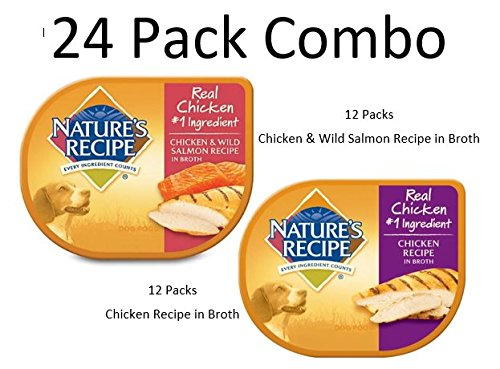 24 PACK COMBO - Nature's Recipe Wet Dog Food, 2.75 oz Cup - (12) Chicken Recipe in Broth and (12) Chicken & Wild Salmon Recipe in Broth