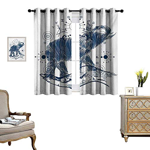 - Psychedelic Blackout Window Curtain Elephant in The Hands with Sacred Geometry Occult Symbols Inner Balance Illustration Customized Curtains W63 x L45 Grey