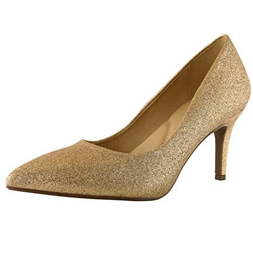Sexy Gold Shoes (DailyShoes Women's Comfortable Elegant High Cushioned Low Heels Pointy Close Toe Stiletto Pumps Shoes, Gold Gl, 7.5 B(M) US)