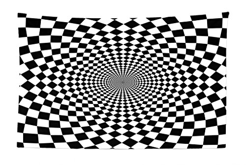 Lunarable Black and White Tapestry, Optic Illusion Motif Zoom Minimalist Reflecting Symmetric Squares Artwork, Fabric Wall Hanging Decor for Bedroom Living Room Dorm, 45 W X 30 L Inches, Black White