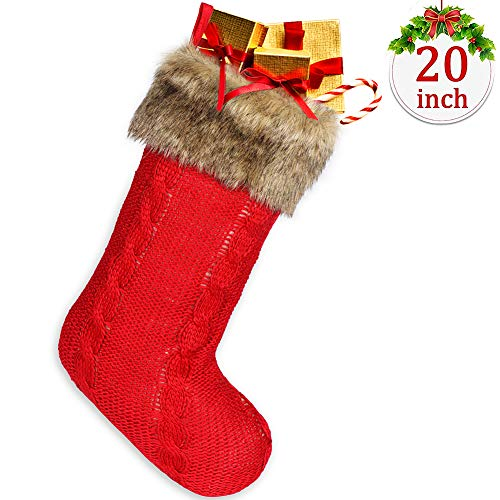 Onshine Wine Red Christmas Stocking with Faux Fur Cuff Gift for Holiday Party Accessory and Indoor Christmas Stockings Decorations