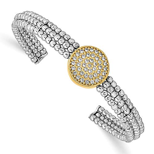 925 Sterling Silver Gold Tone Beaded Swarovski Bangle Bracelet Cuff Expandable Stackable Fine Jewelry Gifts For Women For Her