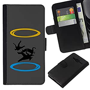 Stuss Case / Funda Carcasa PU de Cuero - Divertido Zero Gravity Ninja Portal - Samsung Galaxy Core Prime
