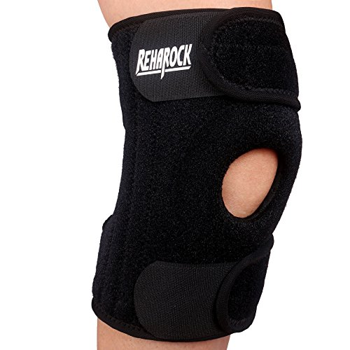 Reharock Knee Brace Open Patella Stabilizer with Adjustable Straps- Breathable Neoprene Knee Protector for ACL, MCL, LCL ,Meniscus Tear, Hyper Extension, Non-Slip- Single