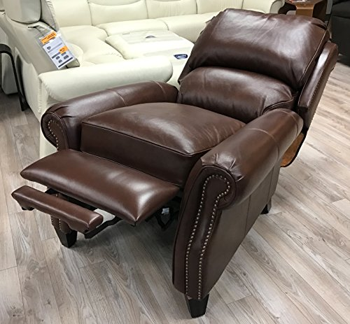 Barcalounger Churchill II Recliner Broughton Saddle Top Grain Leather 7-4440 5453-86 Manual Recline Chair For Sale