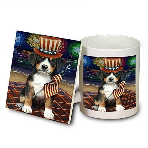 4th of July Independence Day Firework Greater Swiss Mountain Dog Mug and Coaster Set MUC52431 (Coasters Independence Safe Dishwasher)