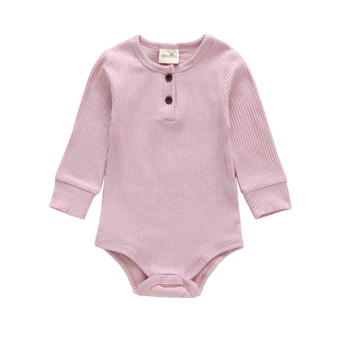 XINXINHAIHE Newborn Babies Autumn Long Sleeve Romper Solid Color Triangle Cotton Jumpsuit