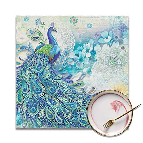 (Table Mats Proud Peacock Opens Washable Placemats Set Of 4, Heat Insulation Placemats Stain Resistant Anti-Skid Washable Table Mats,Placemats For Home Kitchen Dining Table-30x30)