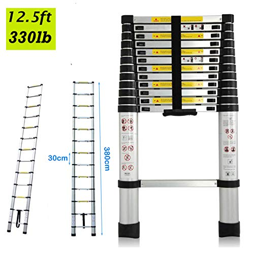 DICN Multipurpose Folding Ladder Aluminum 12.5FT 3.8M Extension Ladders 330lb Max Load for DIY Builder Work Decoration Indoor Outdoor Easy to Store ()