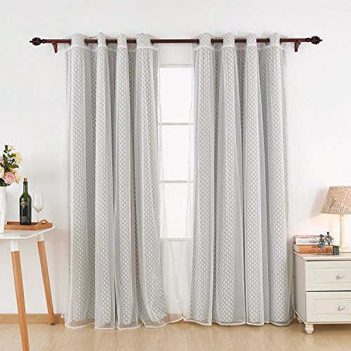 White Thermal Print (Deconovo Energy Saving Grey Moroccan Print Curtains with Grommet and White Sheer Curtains- Thermal Insulated Bedroom Blackout 52x84 Inch Grey 2 Print Curtains and 2 Sheers)