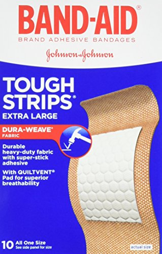 Band-Aid Brand Adhesive Bandages, Tough-Strips, Extra Large (1.75-Inch Wide), 10-Count Bandages (Pack of 6)