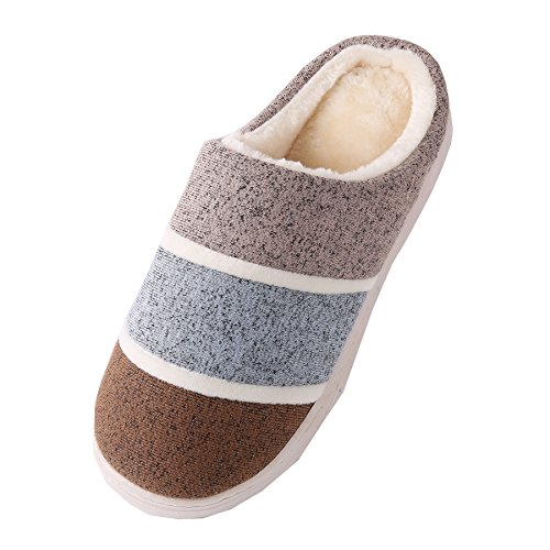 plush Unisex home Cotton shoes warm slippers Coffee fabrics winter Light Knitted boots H07qSS