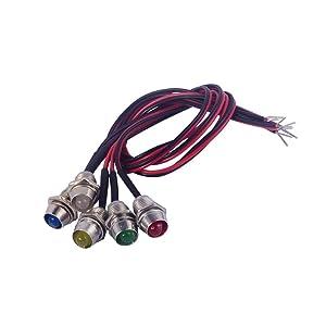 PME 5pcs/set LED Indicator Light Bulb Pilot Dash LED Lamp 12v Universal for Car Auto Vehicle Boat(Five mixed colors)