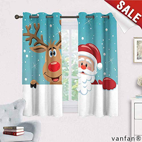 (Big datastore Santa Curtain Set for Living roomCute Rudolph Deer and Santa Claus Greeting The New Year Happily in Cartoon Style for Kids Youth Room W55 x L45 Multicolor)