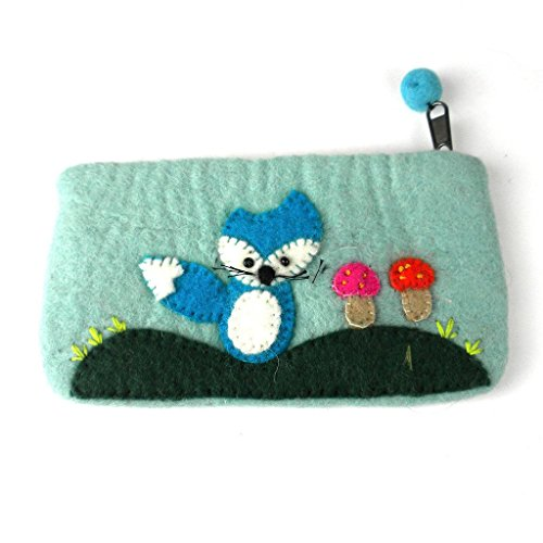Global Craft Handmade Blue Fox Felted Clutch - Global Groove (P)