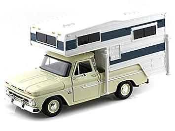 ee3c467cc9a33 MotorMax 1966 Chevy C10 Fleetside W  Camper Trailer 1 24 Beige