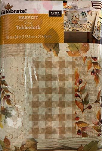 Vinyl Tablecloth 60x84 Harvest Watercolor Pumpkin Patch Theme