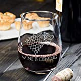 Game of Thrones Merchandise - Wine is Coming Stemless Wine Glass - 21 oz Large Permanantly Etched Dishwasher Safe Glass - Ready for Gifting!