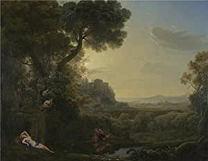 'Claude Landscape with Narcissus and Echo ' oil painting, 20 x 26 inch / 51 x 66 cm ,printed on high quality polyster Canvas ,this High Definition Art Decorative Canvas Prints is perfectly suitalbe for Foyer decor and Home decor and Gifts
