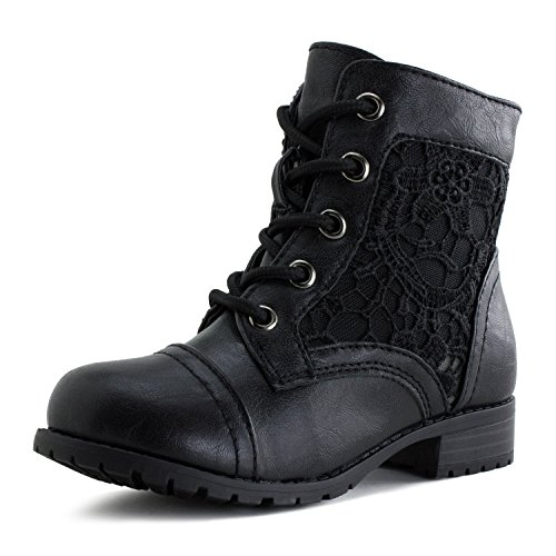 [Kali Girls Lace Up Flower Embroider Ankle Boots, Black, 13 M US Little Kid] (Black Kids Boots)