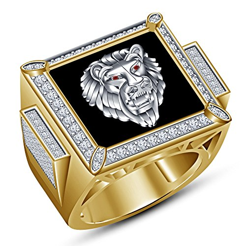 TVS-JEWELS Men's Lion Sign Ring With Lab Created Round Cut Red Garnet & Sim. Diamond Two Tone Plated (Red Lion Diamond)